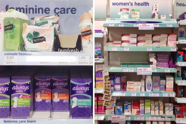 英国ファーマシーの『ウーマンズヘルス(女性の健康)』と『フェミニンケア(女性のお手入れ)』という2つのコーナー