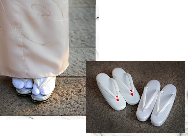草履¥32,184(れん)/衣装らくや〈左〉草履¥78,840/京都一加 東銀座店〈右〉草履¥33,480/銀座かなめ屋