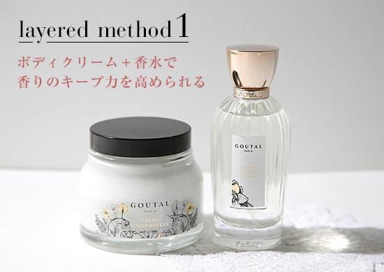 ボディクリーム+香水で香りのキープ力を高められる